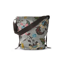 Grey Flower Linen Shoulder Bag