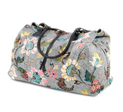 Grey Weekend Bag Flower Linen