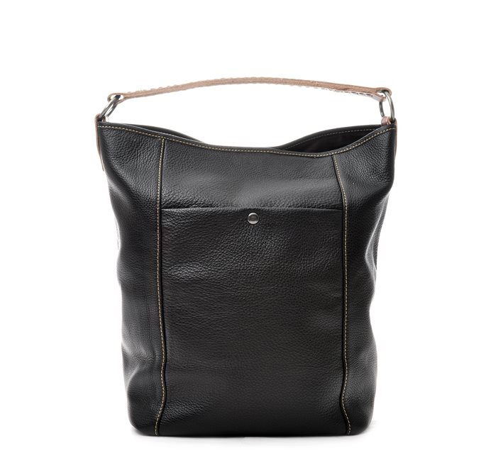 Black Bucket Bag Grained Leather