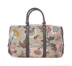 Grey Flower Linen Boston Bag