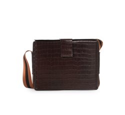 Croco Leather Brown Box Bag