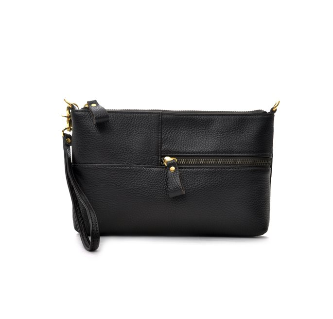 Envelope Bag Black Grained Leather (G)